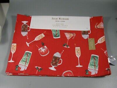ISAAC MIZRAHI New York Placemats Drinks Christmas Set of 4 NEW