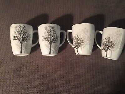 Set/4 CORELLE Coordinates Porcelain TIMBER SHADOWS Tree 12oz SQUARE Mug Coffee
