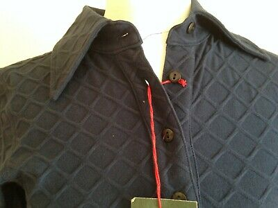 NEW w TAGS! KATHARINE HAMNETT:  Sz XS, TOP POLO SHIRT NAVY, STRUCTURED, RRP £ 99