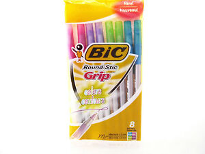 BIC COLORS Round Stic Grip Ball Pens - 8 Pack - Assorted Colors - Medium Point