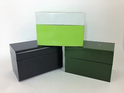 Vintage Lot Of Index Recipe Card Boxes Green Brown 60s 70s Box 1 Is J. Chen Co