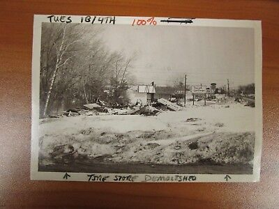 Vintage Glossy Press Photo Natick MA Route Nine Demolished Tire Store Snow (Natick Stores)