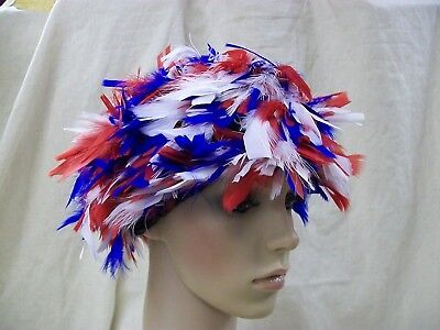 Red White & Blue Feather Wig Patriotic America Election Clown USA Patriot Spirit - Blue Clown Wig