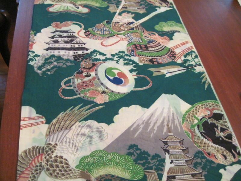 """vintage Japanese rayon fabric """"Japanese wrapping cloth"""" 56"""" long X 28"""" wide"""