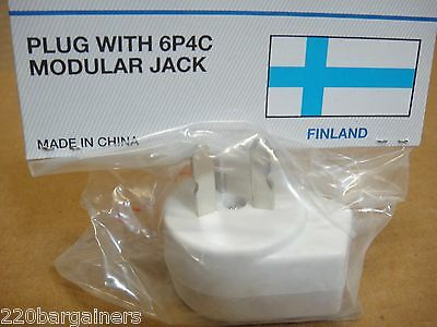Finnish Phone Jack Outlet Adapter - Convert Finland's Phone Outlet to USA Style