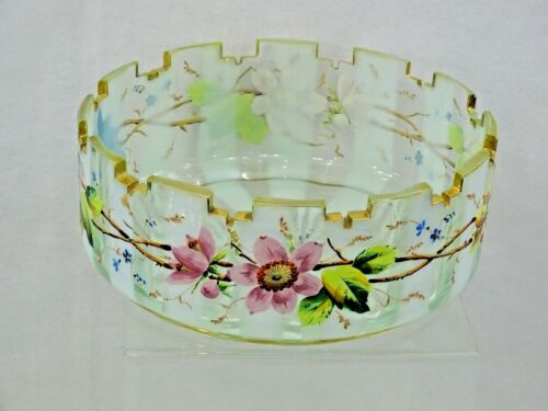 MAGNIFICENT ANTIQUE HAND CUT / PAINTED ENAMEL GLASS BOWL AMERICAN, CIRCA 1870
