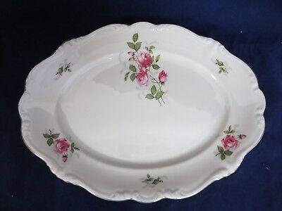 """Vintage Rosenthal Pompadour Courtship 14.75"""" Oval Serving Platter Pink Roses"""