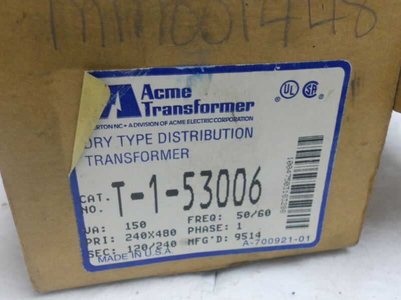 ACME GENERAL PURPOSE TRANSFORMER T-1-53006 NEW T153006
