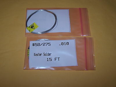 Kester Wire Solder Lead Free 58275 .010 Pn 24-7068-7623 15 Ft In Length