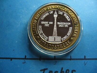 Sydney Tower (SYDNEY TOWER AUSTRALIA 1996 STRATOSPHERE CASINO RARE 999 SILVER $10 GAMING COIN)