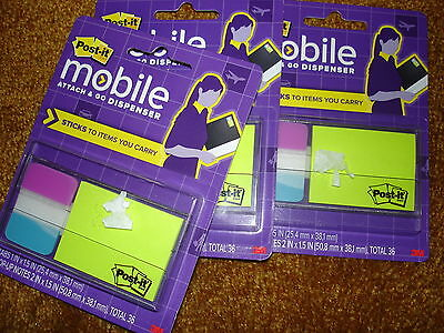 Post-it Mobile Attach And Go Dispenser Pm-combo1 Lot Of 3