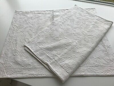 PAIR Polo Ralph Lauren Matelasse Pillow Sham Leaf Floral Ivory Off White Cream