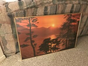 Sunset picture in frame