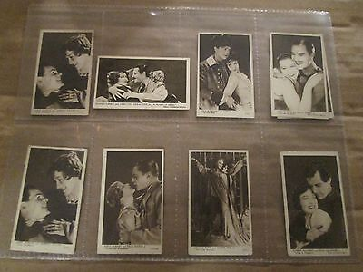 1930's Tobacco Cards Kensitas Love Scenes From The Films  FIVE DIFFERENT