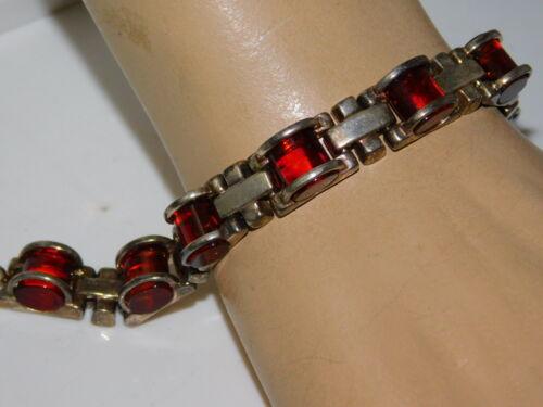 "925 Sterling Silver Golden Brown Amber Stone 6.5"" Bracelet 27g. 11j 84"