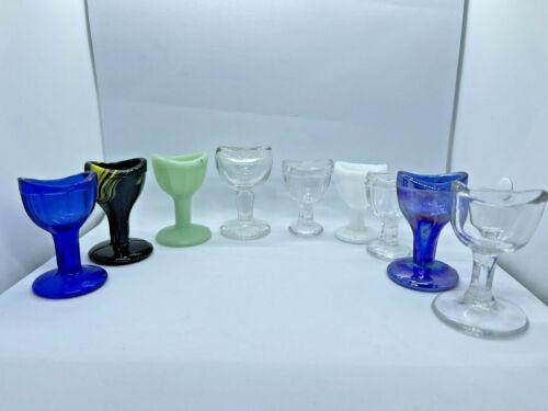 Antique glass antique eye wash cup washer Jadite, Slag, Milkglass, John Bull LOT