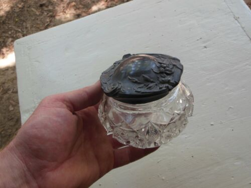 Vintage Crystal Silverplate Powder Jar Box Vanity Trinket Jewelry Nice!