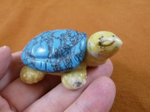 (Y-TUR-LAT-719) blue + yellow TURTLE tortoise 2 piece gemstone carving FIGURINE
