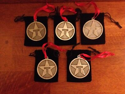 Lot of (5) TEXACO STAR Logo Pewter Christmas Ornament Medallion - Vintage