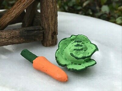 Miniature Dollhouse FAIRY GARDEN Accessories ~ Rustic Carrot & Cabbage Set of 2  for sale  Shipping to Canada