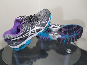 Asics Gel Nimbus 14 Womens Size 7.5 Gray / Blue / White Training Running Shoes