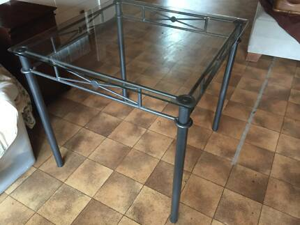 SQUARE GLASS TOP SMALL DINING TABLE