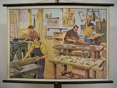 Schulwandkarte Wandbild Schreiner Tischler Joiner Geschenk Jubiläum 90x64 1968