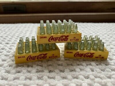 Vintage Mid-Century Miniature Coca-Cola Crates With Bottles Plastic Yellow Red