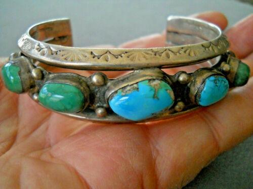 B HALEY Navajo Multi-Color Turquoise Row Heavy Gauge Sterling Silver Bracelet