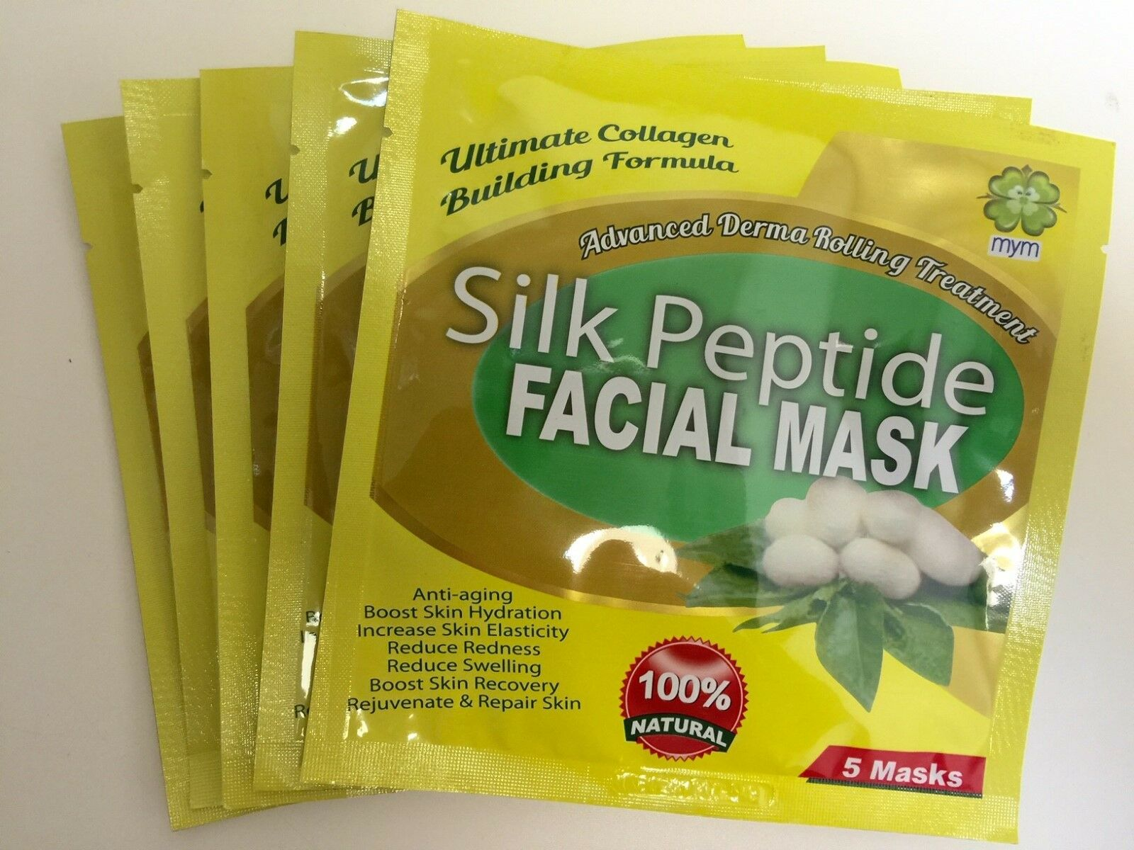 MyM Peptide Silk Facial Mask, Unisex, Anti Wrinkles Anti-Aging x5 packs