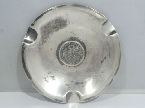 VINTAGE PERUVIAN STERLING SILVER COIN ASHTRAY 3.2 TROY OZ.