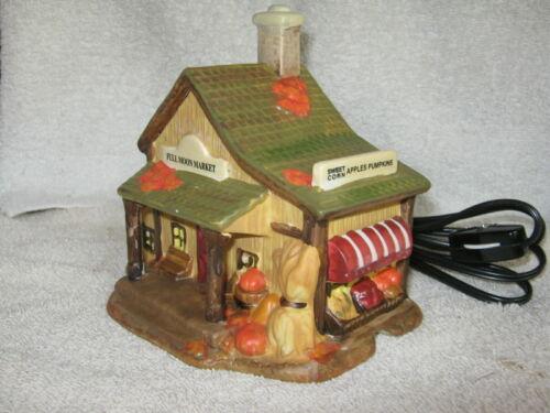"Harvest Autumn ""Full Moon Market"" ceramic Lighted House"