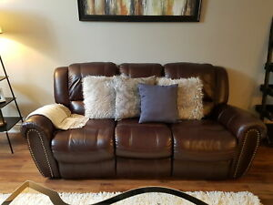 Leather reclining couch and chair