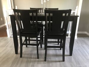 Solid wood bar table 6 chairs