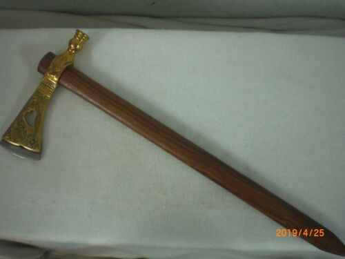 Pipe Axe,Tomahawk, Engraved  Brass, Drilled for Smoking