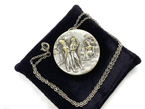 Antique Georgian Silver Tone Courting Scene Mirror Pendant Necklace 10.4 grams
