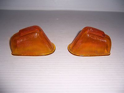 Vintage Griffin Lamp Co Front Marker Light Amber Glass Lens Pair Hot Rod Rat Rod