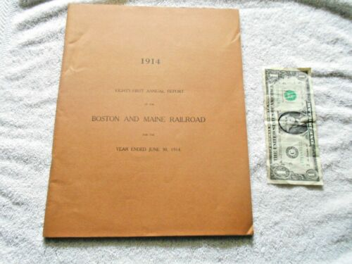 """1914 Boston & Maine Railroad 81st Annual Report with 13""""x21"""" Map in good shape"""