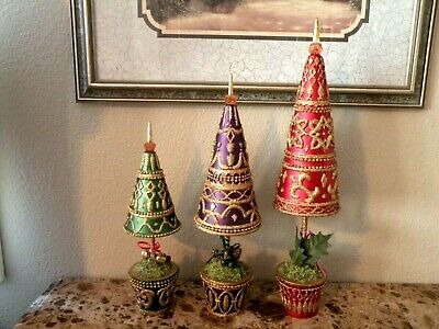 Christmas Tree Topiary set of 3 Purple/Red /Green & Gold -