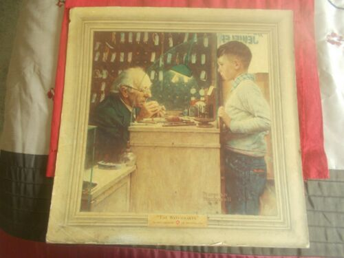 """NORMAN ROCKWELL-THE WATCHMAKER of SWITZERLAND 1948 STORE DISPLAY 16""""x16"""""""