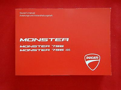 GENUINE 2011 DUCATI MONSTER 796 ABS OWNERS MANUAL BOOK 913.7.174.1E 2012