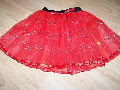 Child Size 4-6 Homemade Red Silver Sequins Tulle Tutu Skirt Dance Costume New (Homemade Dance Costumes)