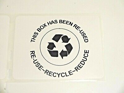 25 Qty This Box Has Been Re-used Recycle Reduce Shipping Label Stickers No Ink