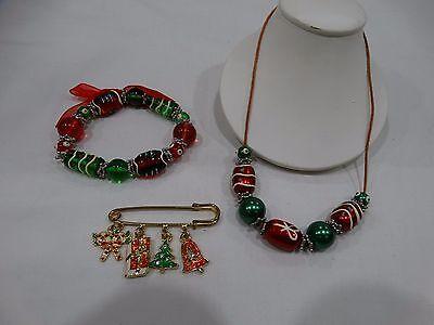 Christmas Jewelry Set Bracelet Necklace & Pin Ugly Christmas Sweater - Ugly Christmas Sweater Accessories