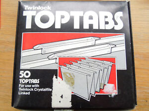 100 x Rexel Crystalfile Twinlock Top Tabs Classic For Linked Joined Files Clear