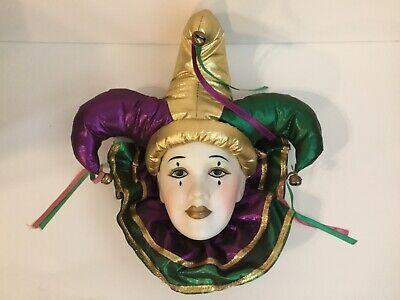 Vtg Mardi Gras Purple Green Harlequin Porcelain Jester Face Mask Wall Hanging