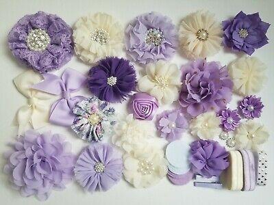 Diy Headband Kit (DIY Headband Kit - Baby Shower Activity Hair Craft Purple Lavender Ivory)