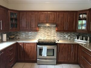 Complete kitchen for sale. Cabinets, quartz counter tops,