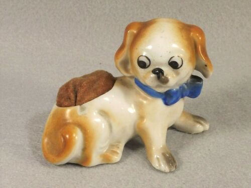 Pincushion Puppy Dog Porcelain Figure Googly Eyes Made in Japan Sewing Accessory