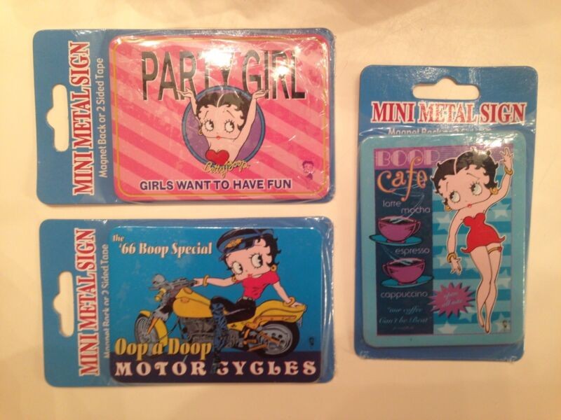 3 BETTY BOOP METAL MAGNET Party Girl Motorcycle Cafe
